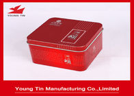 Red Square Metal Tins With Lid , Square Tea Storage Tins 90 × 90 × 65 MM