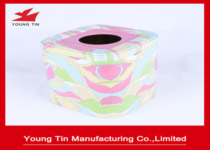 Empty Square Metal Tins With CMYK Printing , Tinplate Material Type Tissue Paper Holder