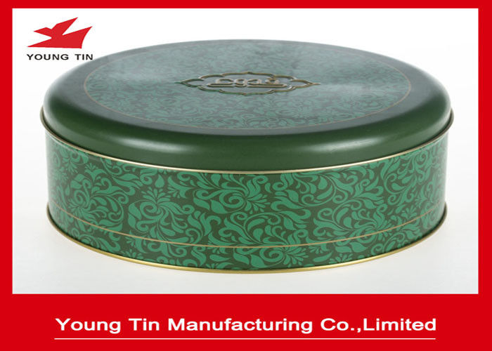 Matt Finished Round Cookie Gift Tins With Lids , Food Grade CMYK Printed Cylinder Biscuit Tin