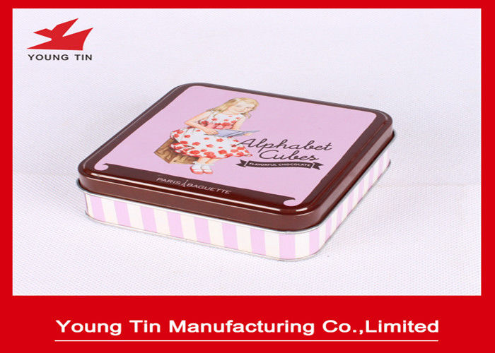 Empty Square Chocolate Packaging Tin Boxes Case With Artwork CMYK / PMS Printing