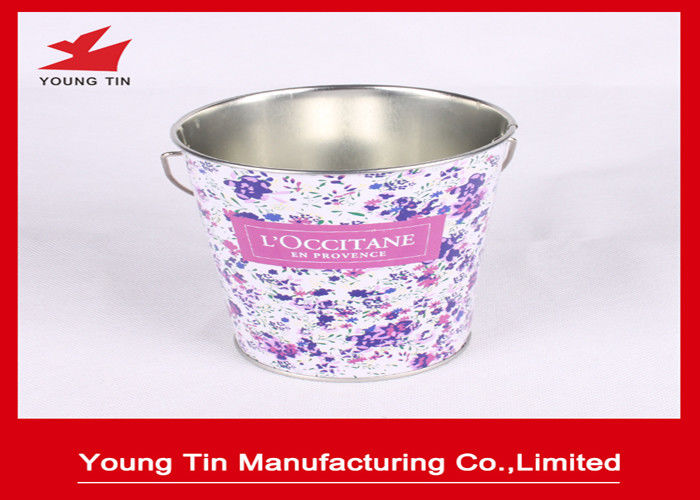 CMYK Printed Easter Promotional Gifts Packaging Tin Bucket With Handle YT1187