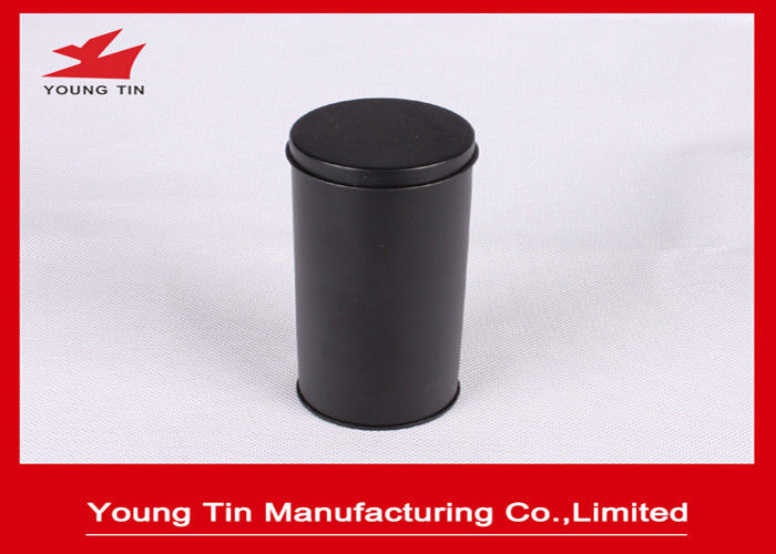 YT1188 Round Cylinder Plain Black Metal Tea Containers Safe Packaging Custom