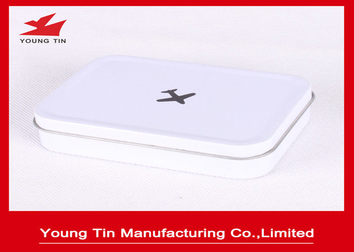 Airplane Printed Rectangle Mini Tin Box , White Background Empty Tin Cans With Hinged Lid