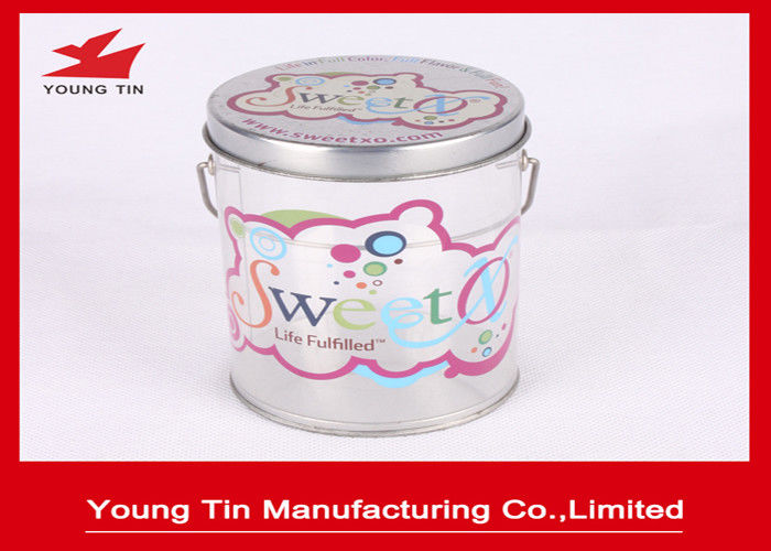 Color Printed Empty Cylinder Round Gift PET Tin Boxes Sweets Packaging Handle Attached