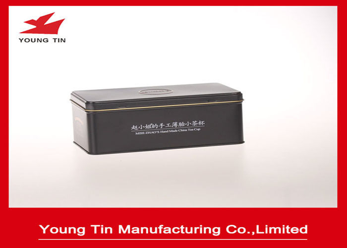 Rectangle Hinged Lid Metal Tea Tins Container Box With CMYK Offset Printing