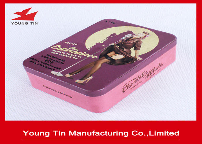 Metal Vintage Chocolate Tin Boxes Full Color CMYK Printed 105 x 75 x 32 MM