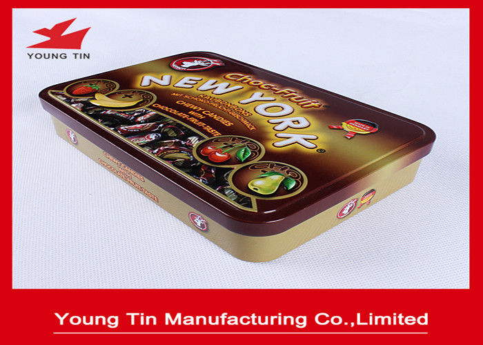 Rectangle Chocolate Tin Boxes , Full Color Chocolate Gift Boxes With Embossed Hinged Cover