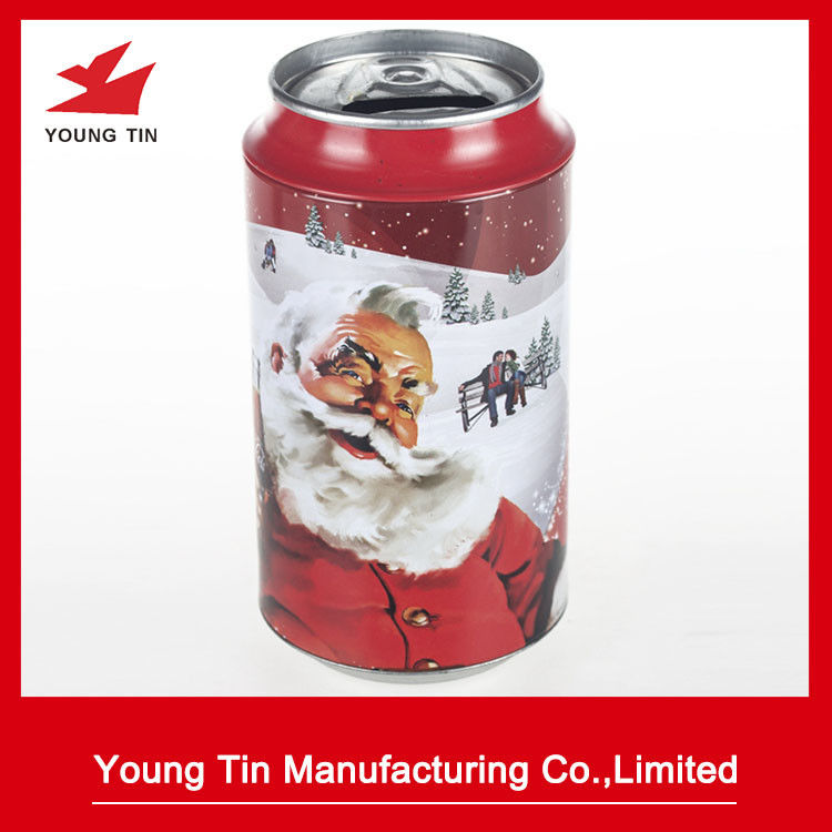 Fancy Cylinder Round Coin Bank Tin Artwork Full Color CMYK Printed For Promotion