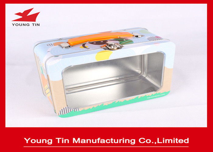 Rectangle Full Color Printed Metal Lunch Tin Box YT1225 With Clear PET Window