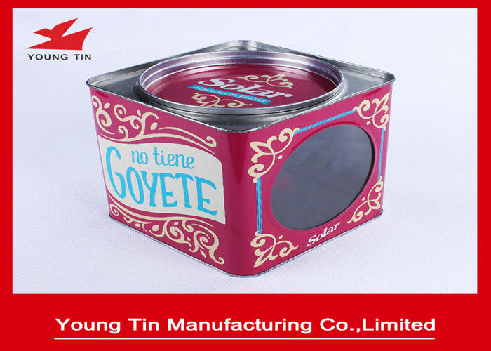 Square Empty Metal Coffee Tins , YT1054 Coffee Tin Cans With Removable Cover